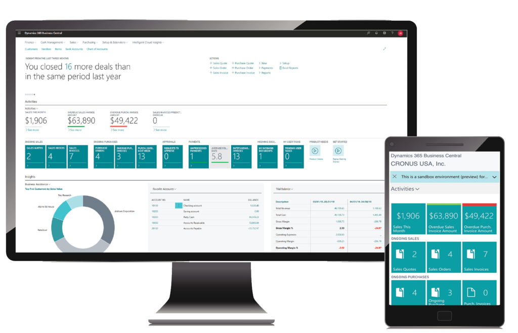 Microsoft Dynamics 365 Business Central Screens